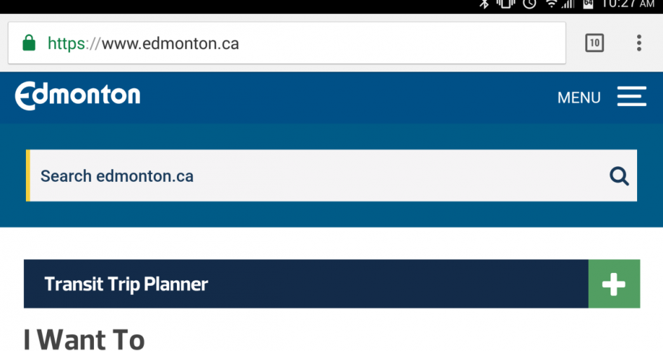 The City of Edmonton has redesigned its website to have a responsive design, which will resize to fit any size screen. This is what it looks like on a smartphone.