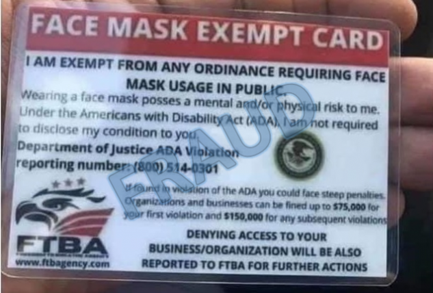 A photo of a fraudulent 'face mask exempt' card released by the U.S. Department of Justice.